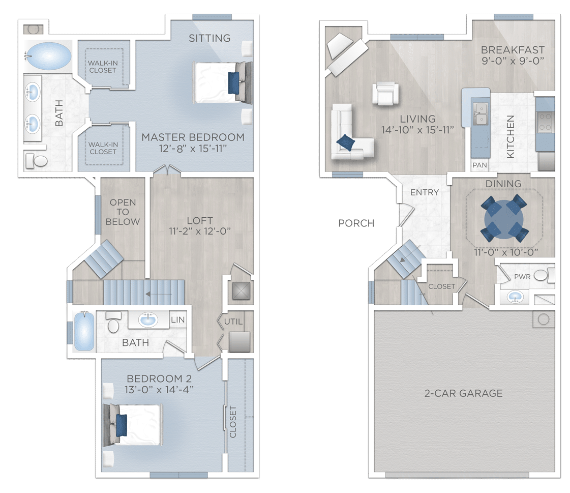 Two Bedroom Apartment with two car Garage