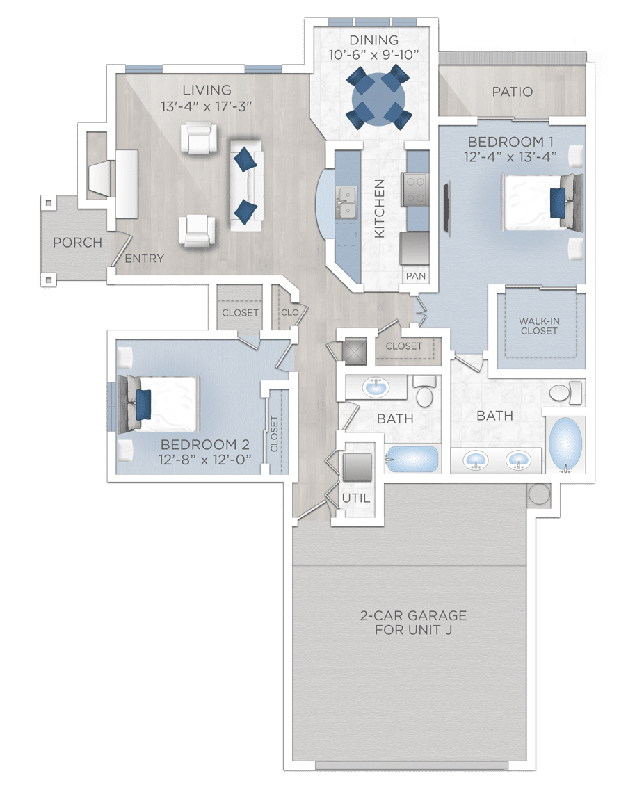 Two Bedroom Apartment with Garage